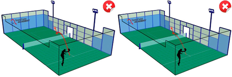 パデルのルール 相⼿のサービスボックスにサーブが⼊るが、1バウンドしたボールがフェンス(⾦網)に当たった場合